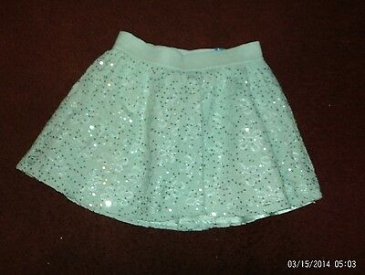 justice-- girls size 18 mint green sequined lace skirt--nwt
