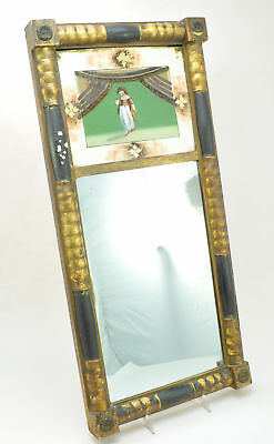 A Great 19th C Federal Two Part Split Baluster Mirror Reverse Painted on Glass