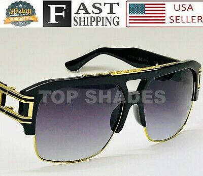 Oversized Mach Square Grandmaster Aviator Gold Metal Bar Men Fashion Sunglasses