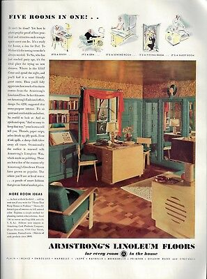 1936 Teal Decor & Embossed Effect Linoleum Five Rooms in One Armstrong Floor AD