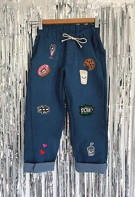 Denim Girls Pant with embroidery patches Size 7-14