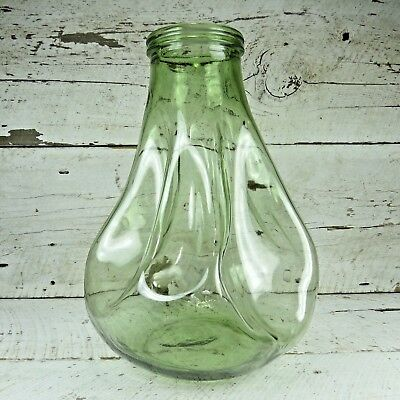 ULTRA RARE Antique Green Melted Twisted Wide Mouth Carboy Dame Jeanne Demi John