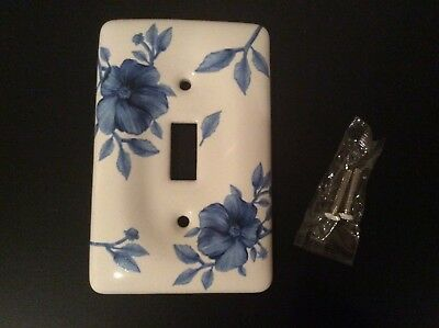 Ceramic  Switch Plate Single With Blue Flowers Design