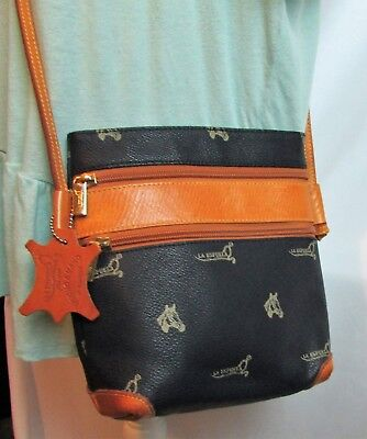 La Espuela Handmade Cross Over Blue & Tan Leather Handbag Purse Equestrian Horse