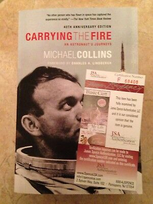 Signed Michael Collins Book Carrying The Fire Apollo 11 Autograph JSA Certified