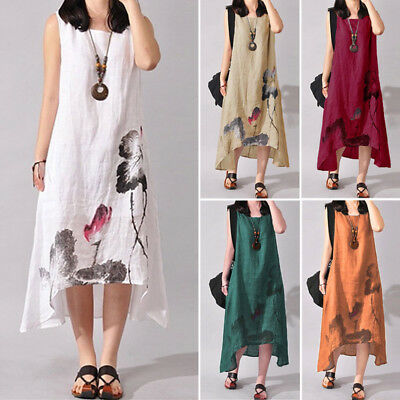 Women Summer Sleeveless Long Midi Kaftan Sundress Beach Party Boho Floral Dress