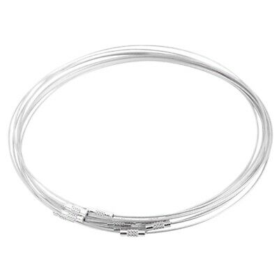 10Pcs Steel Wire Choker Necklaces Screw Clasp 18 inch C1E7 H6S6