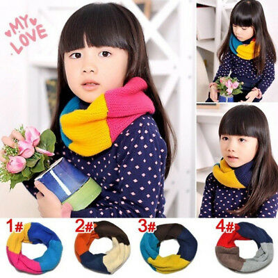 Children's Winter Knitted Scarf Rainbow Color Warm Scarf Collar For Boys Girls