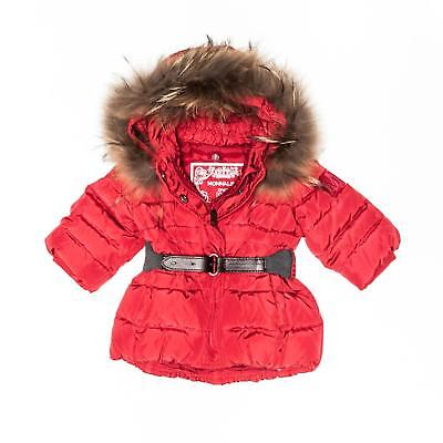 MONNALISA - Italian Designer Babies 6-9MTH Red Down Coat w/removable hood - NWT