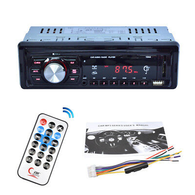1 DIN Car Stereo 12V FM SD/USB/AUX Bluetooth Remote Head Unit MP3 Player
