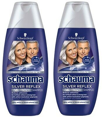 2x8.45oz Schauma Silver Reflex Shampoo Simmer Blonde Grey Hair Anti-Yellow 500ml