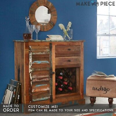 MADE TO ORDER Reclaimed wood 1 Door 2 Drawer Wine Rack Sideboard Buffet Hutch