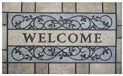 New Welcome Stone 24 in. x 36 in. Door Mat with Rubber Backing Large Outdoor Mat