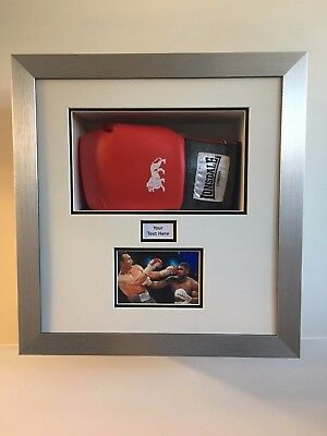 Readymade One Boxing Glove Display Frame Case,  1 Photo, 1 Title | White Mount