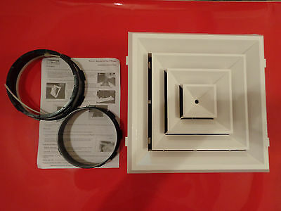 Hart & Cooley REZZIN RZ-Square 12X12 Ceiling Diffuser 4-Way w/Damper RZ-504, NEW