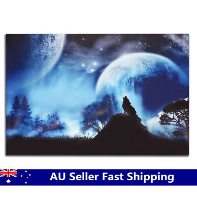 Wolf Howl Moon Canvas Oil Painting Print Picture Home Wall Art Decor Unframed AU