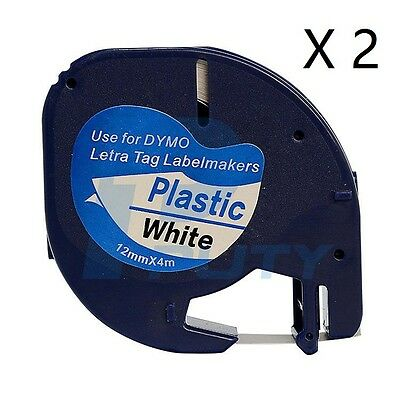 2X Compatible for DYMO LetraTag 91201 Plastic Black on White Label Tapes 12MMx4M