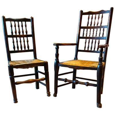 Antique Pair of Chairs Farmhouse Rush Seat 19th Century Solid Oak