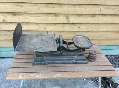 Massive Rustic Cast Iron Scales And Weights; Day And Millward; England; Antique
