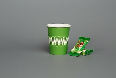 Tea Coffee Party Coffee Tea PAPER CUPS GREEN WEAVED 8oz Cup For Cold Hot Drinks