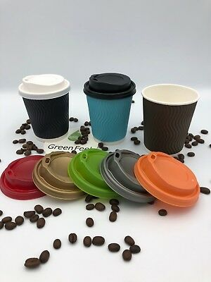 RIPPLE WALL Paper Coffee Cups Drinks 500 x 8oz BROWN BLUE BLACK & Sip LIDS