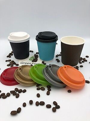 RIPPLE Paper Cups BLUE BROWN BLACK Coffee Hot Drinks LIDS Disposable 50 x 8oz