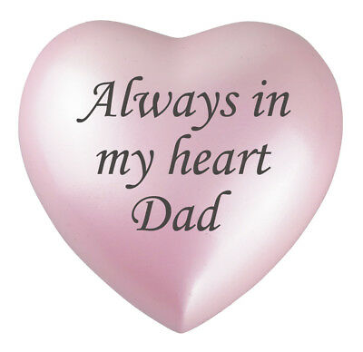 Always In My Heart Dad Pink Heart Urn Keepsake for Ashes Cremation Cremains