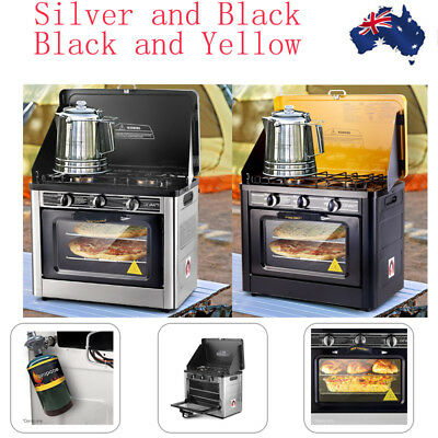 Burner Portable Camping Oven LPG Gas Stove Stainless Steel Caravan 2 Color