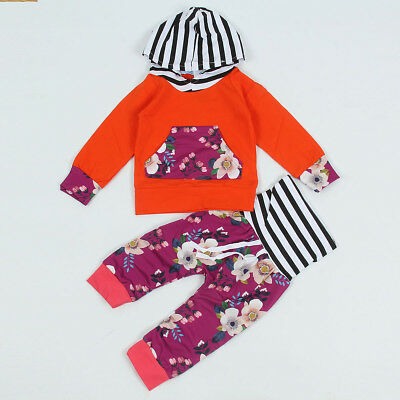 2PCS Toddler Newborn Baby Girls Boys Hooded Tops Pants Home Outfits Set Clothes