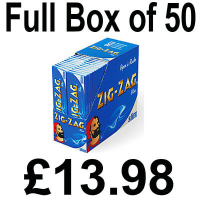 Full Box of 50 Booklets Zig Zag Blue Slim King Size Cigarette Rolling Paper