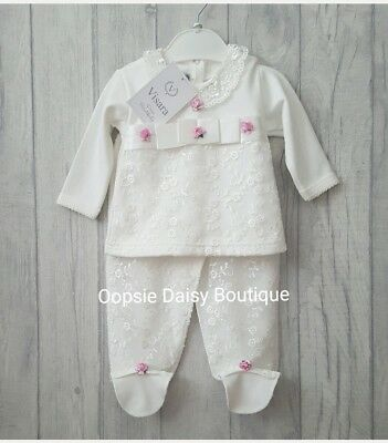 Baby Girls Stunning Pink Roses Ivory Lace 2 Piece Set - by Visara ☆