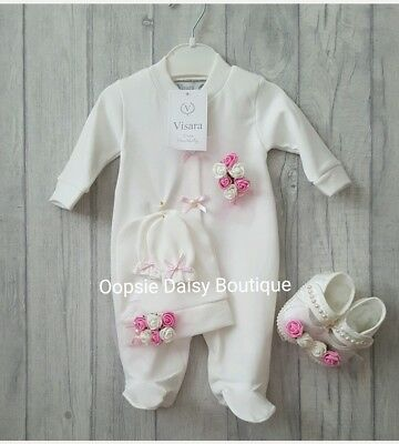 Baby Girls Stunning Ivory Pink Roses & Pearls Romper,Hat,Mittons,Shoes Set ☆