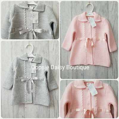 SALE Beautiful Spanish Knitted Jacket/ Cardigan with Ribbons ☆ Pink & Grey☆