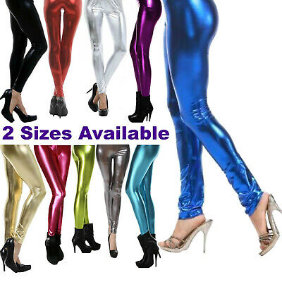80s Leggings Shiny Metallic 70s Neon Disco Pants - Ladies Fancy Dress Costume