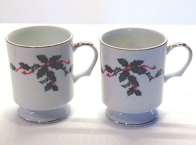 Lefton China #03031 Hand Painted Holly and Berry Footed Christmas Mugs Lot of 2