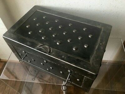 19/20th. Century wrought iron hobnail safe , iron Chest , strongbox