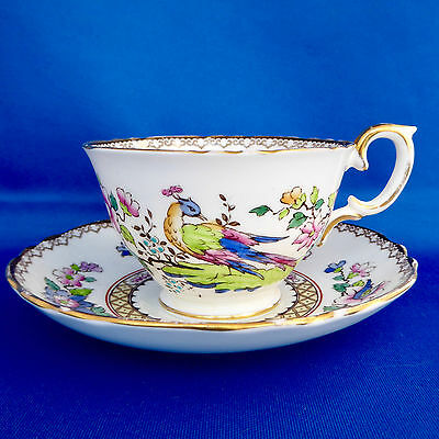 Crown Staffordshire Peacock Tea Cup Saucer 15322 Bird Wide Floral Scroll England