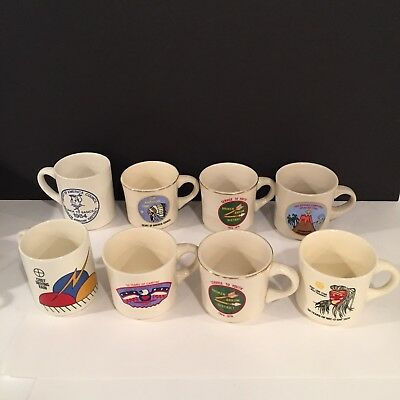 Lot of 8 Vintage Boy Scouts America BSA Coffee Mugs Cups Hawaii Broken Arrow