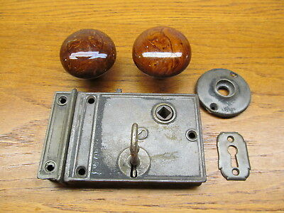 "Plain Old Box Lock...rim..surface Lock..latch.."" Bennington "" ??? Knobs With Key"