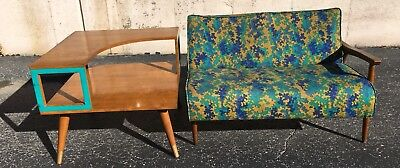 Vtg  MID CENTURY MODERN SETTEE Loveseat sofa couch UPHOLSTERY WOOD
