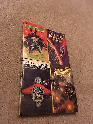 Lot Of 4 Vintage Sci Fi Horror Book 1970's Demons War Wrath Chronopolis