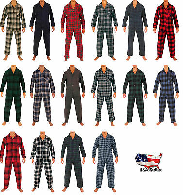 Norty Mens Cotton Yarn Flannel Pajama Lounge Sleep Sets - 16 Prints Available