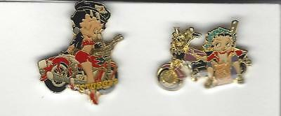 BETTY BOOP Motorcycle Hat / Lapel  Pins Qty 2 Pin Lot