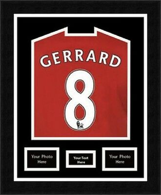 """Football shirt display frame with 2 (6""""x4"""") inches Photos & Title - Black Mount"""