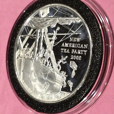 The New American Tea Party 1 Troy Oz .999 Fine Silver Rare Round Coin Medal 2009