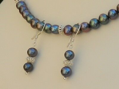 Stunning Handmade Peacock Pearl & 925 Necklace & Earrings Set