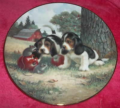 """Beagle plate """"An Apple a Day"""" dog plate Hamilton Collection by Jim Lanb"""