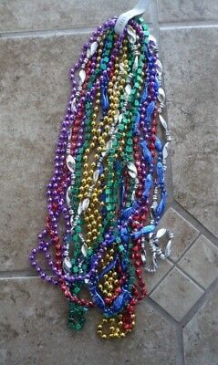 """12 Assorted Styles Colors Mardi Gras Beads Necklaces Party Favors 33"""""""