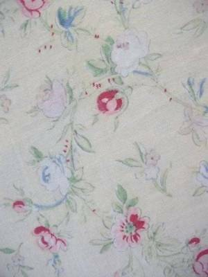 "French 1930s Printed Cotton Frilly Panel ""Paul Dumas "" Shabby Chic"