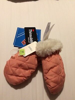 BNWT NEXT Gorgeous fur trim Girls Thinsulate 40g Peach Mittens Age 1-2 Years